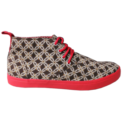 Patterned Veldskoen with Red Sole